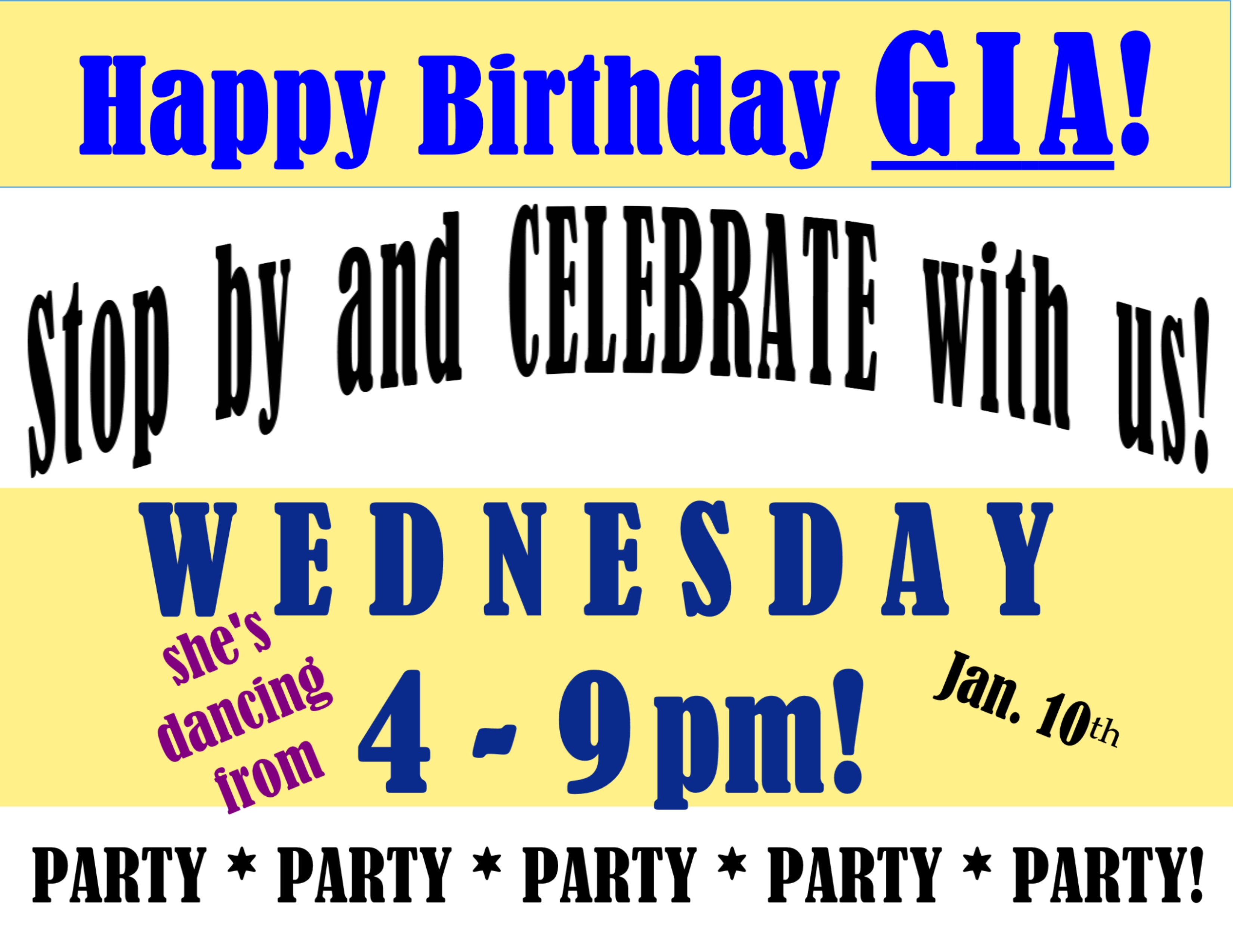Wed., Jan. 10th PARTY for Gia!